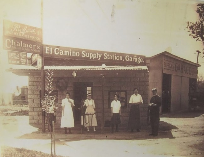 Lillian Yeager's repair shop at the corner of Spadra (now Harbor) and Chapman.